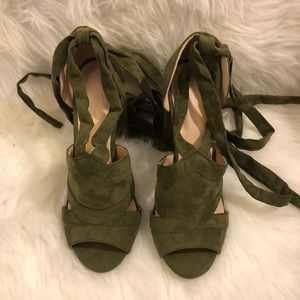 Olive Green Lace-up Chunky Heel Sandals